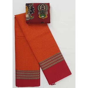 Narayanpet pure cotton all over checks thread border saree - Vinshika