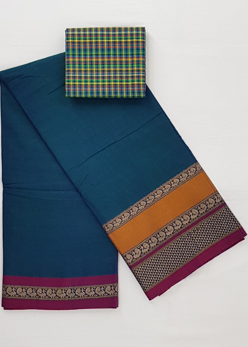 Narayanpet pure cotton large thread border saree - Vinshika