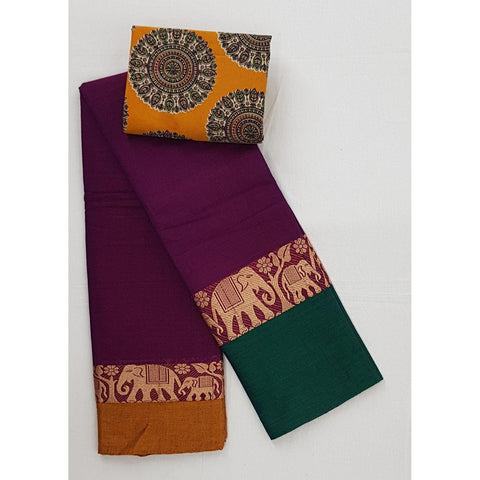 Narayanpet pure cotton large thread border saree