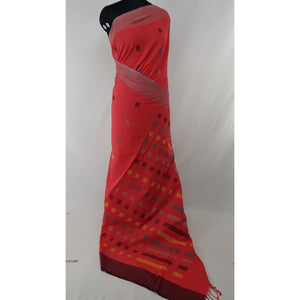 Handwoven handmade yarn cotton jamdani buttis saree - Vinshika