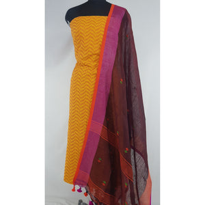 Linen by Linen jamdani dupatta with Mangalagiri Jacquard cotton top / Salwar Set - Vinshika