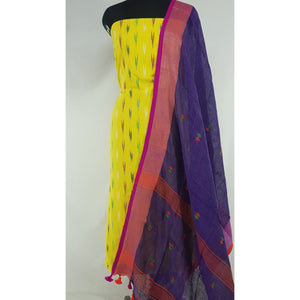 Linen by Linen jamdani dupatta with Ikat cotton top / Salwar Set - Vinshika