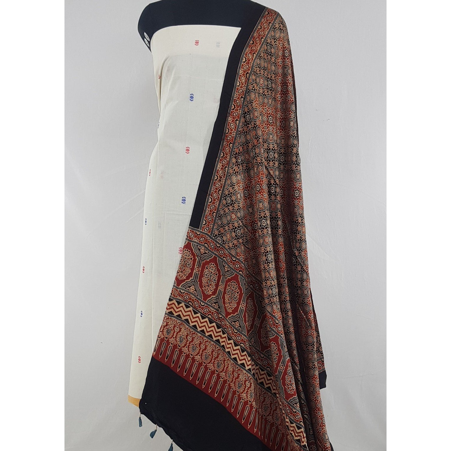 Hand printed natural dyed Ajrakh Modal Silk dupatta with handmade yarn cotton butta  top / Salwar Set - Vinshika