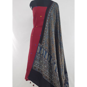 Hand printed natural dyed Ajrakh Modal Silk dupatta with khadi butta cotton top / Salwar Set - Vinshika