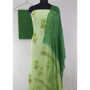 Bagru Hand Printed Cotton Salwar Set with Chiffon Dupatta - Vinshika
