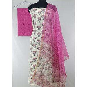 Bagru Hand Printed Cotton Salwar Set with Kota Dupatta - Vinshika
