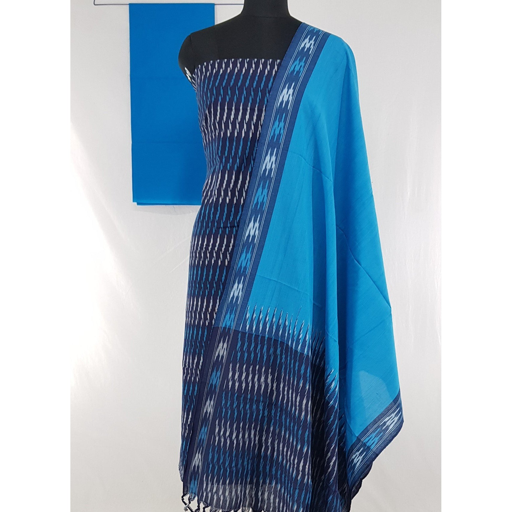 Dark Blue Color Pochampally Handloom Ikat cotton salwar set - Vinshika