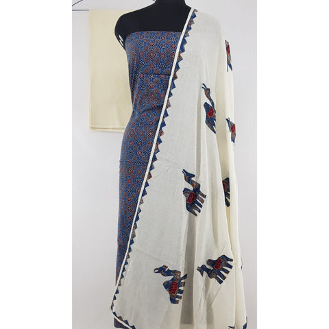Hand printed natural dyed Ajrakh patch work cotton salwar set - Vinshika
