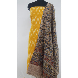 Kalamkari cotton dupatta with Ikat cotton top / Salwar Set - Vinshika