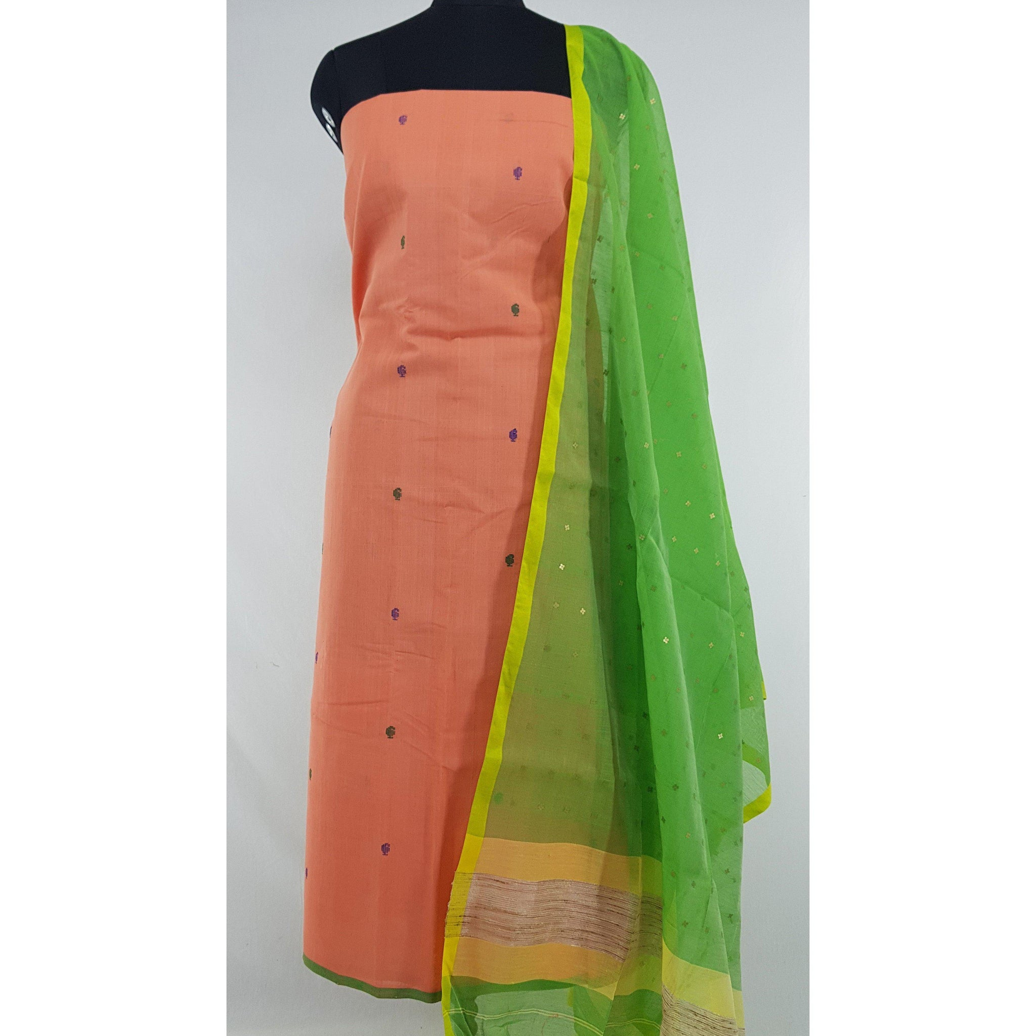 Sequin handwoven cotton silk dupatta with Handmade yarn butta cotton top - Vinshika