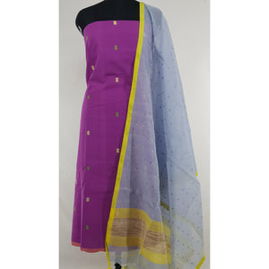 Sequin handwoven cotton silk dupatta with Khadi butta cotton top - Vinshika