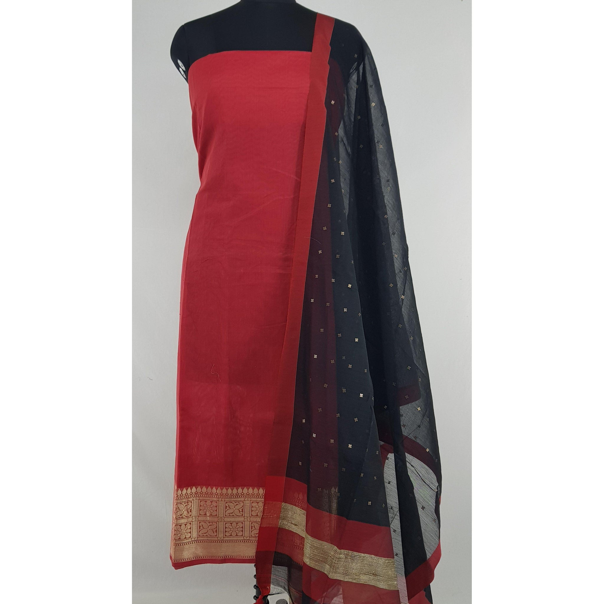 Sequin handwoven cotton silk dupatta with Chanderi top - Vinshika