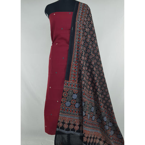 Ajrakh hand block natural dyed cotton dupatta with khadi jamdani cotton top/salwar set - Vinshika