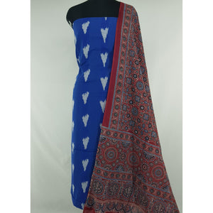 Ajrakh hand block natural dyed cotton dupatta with ikat cotton top/salwar set - Vinshika