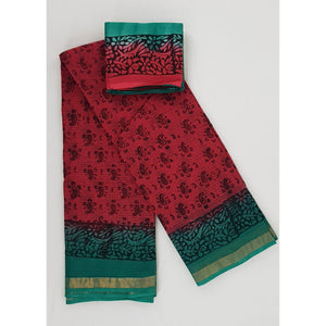 Hand Printed Kota Cotton Saree with Zari border - Vinshika