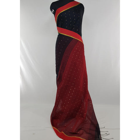 Black and maroon sequin handloom Cotton silk saree