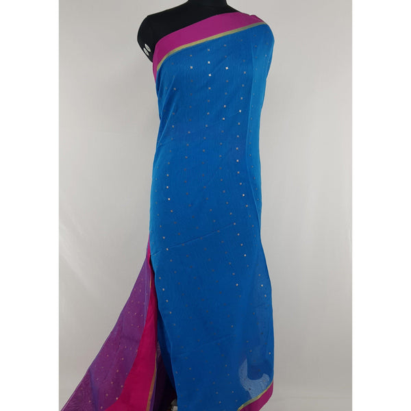 Blue and Pink sequin handloom cotton silk saree - Vinshika