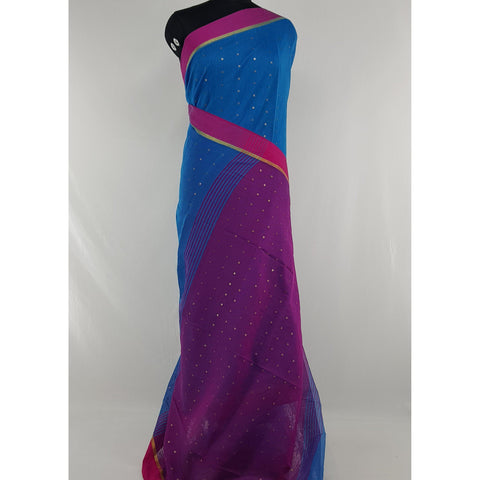 Blue and Pink sequin handloom cotton silk saree