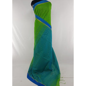 Green and Blue sequin handloom cotton silk saree - Vinshika