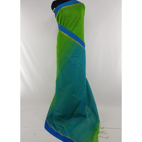 Green and Blue sequin handloom cotton silk saree