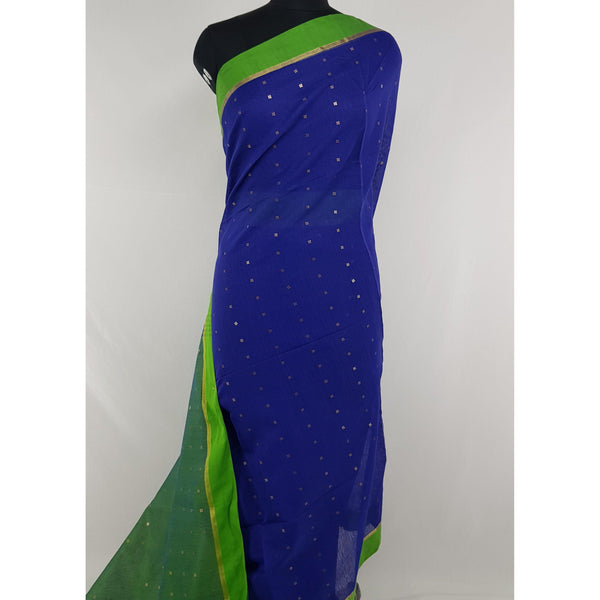 Blue and Green sequin handloom cotton silk saree - Vinshika