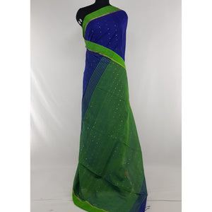 Blue and Green sequin handloom cotton silk saree