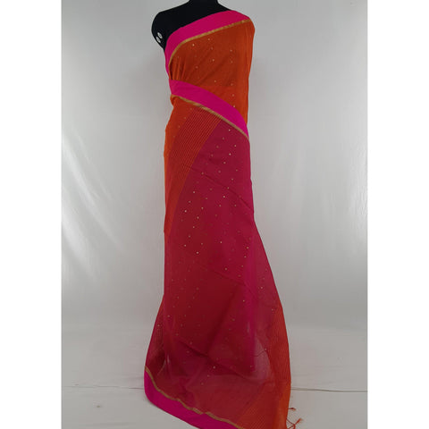 Red and Pink sequin handloom cotton silk saree