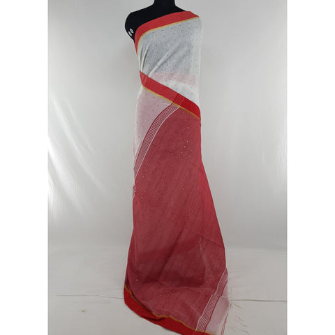 White and Red sequin handloom cotton silk saree
