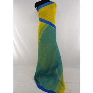 Yellow and blue sequin handloom cotton silk saree