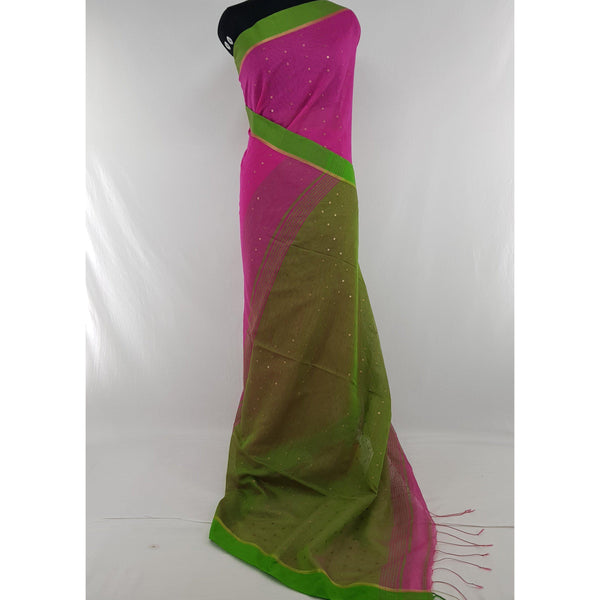 Pink and green sequin handloom cotton silk saree - Vinshika