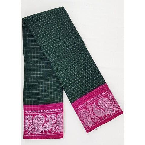 Madhurai Sungudi silver zari border and allover checks pure cotton saree - Vinshika