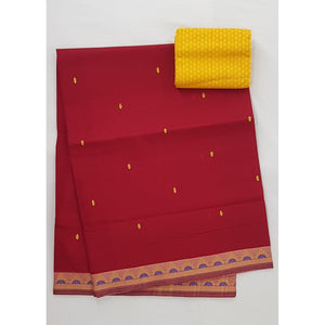 Scarlet Color Venkatagiri Cotton Saree - Vinshika