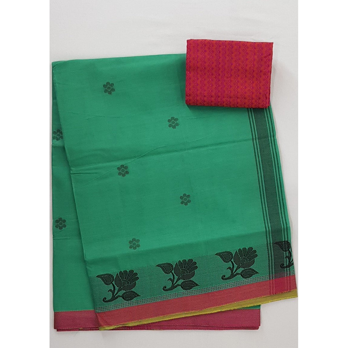 Light Kiwi Color Venkatagiri Cotton Saree - Vinshika