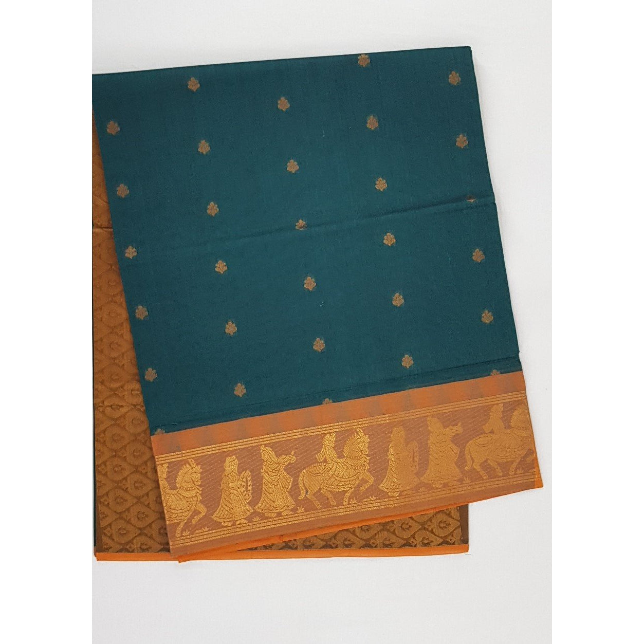 Aqua Blue Color Handwoven Venkatagiri Cotton Silk Saree - Vinshika