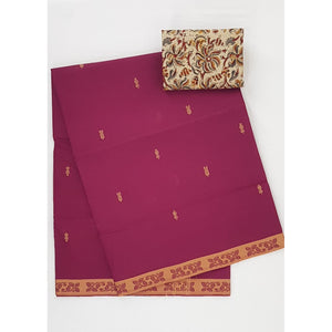 Onion Color Venkatagiri Cotton Saree - Vinshika