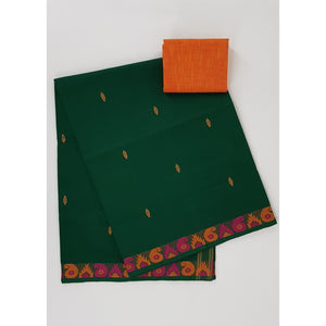 Green color Venkatagiri cotton saree - Vinshika