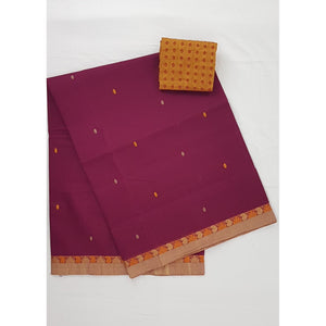 Maroon Color Venkatagiri Cotton Saree - Vinshika