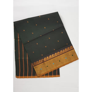 Deep Olive Color Handwoven Venkatagiri Cotton Silk Saree - Vinshika