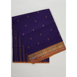Purple Heart Color Handwoven Venkatagiri Cotton Silk Saree - Vinshika