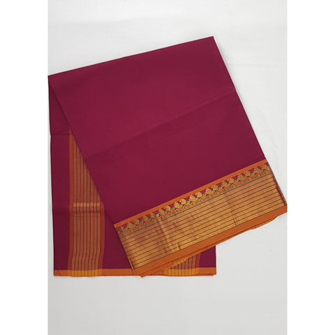 Maroon Color Handwoven Venkatagiri Cotton Silk Saree - Vinshika