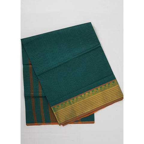 Peacock Color Handwoven Venkatagiri Cotton Silk Saree - Vinshika