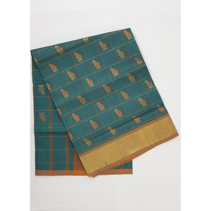 Aqua Blue Color Handwoven Venkatagiri Cotton Silk Saree