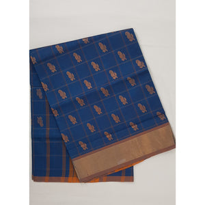 Blue Color Handwoven Venkatagiri Cotton Silk Saree - Vinshika