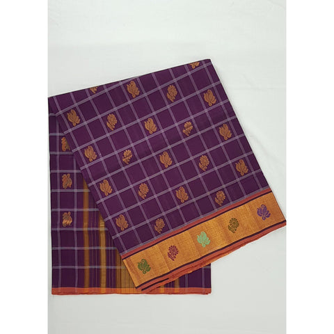 Violet Color Handwoven Venkatagiri Cotton Silk Saree - Vinshika