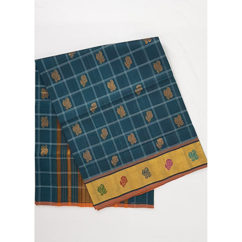 Ocean Blue Color Handwoven Venkatagiri Cotton Silk Saree - Vinshika