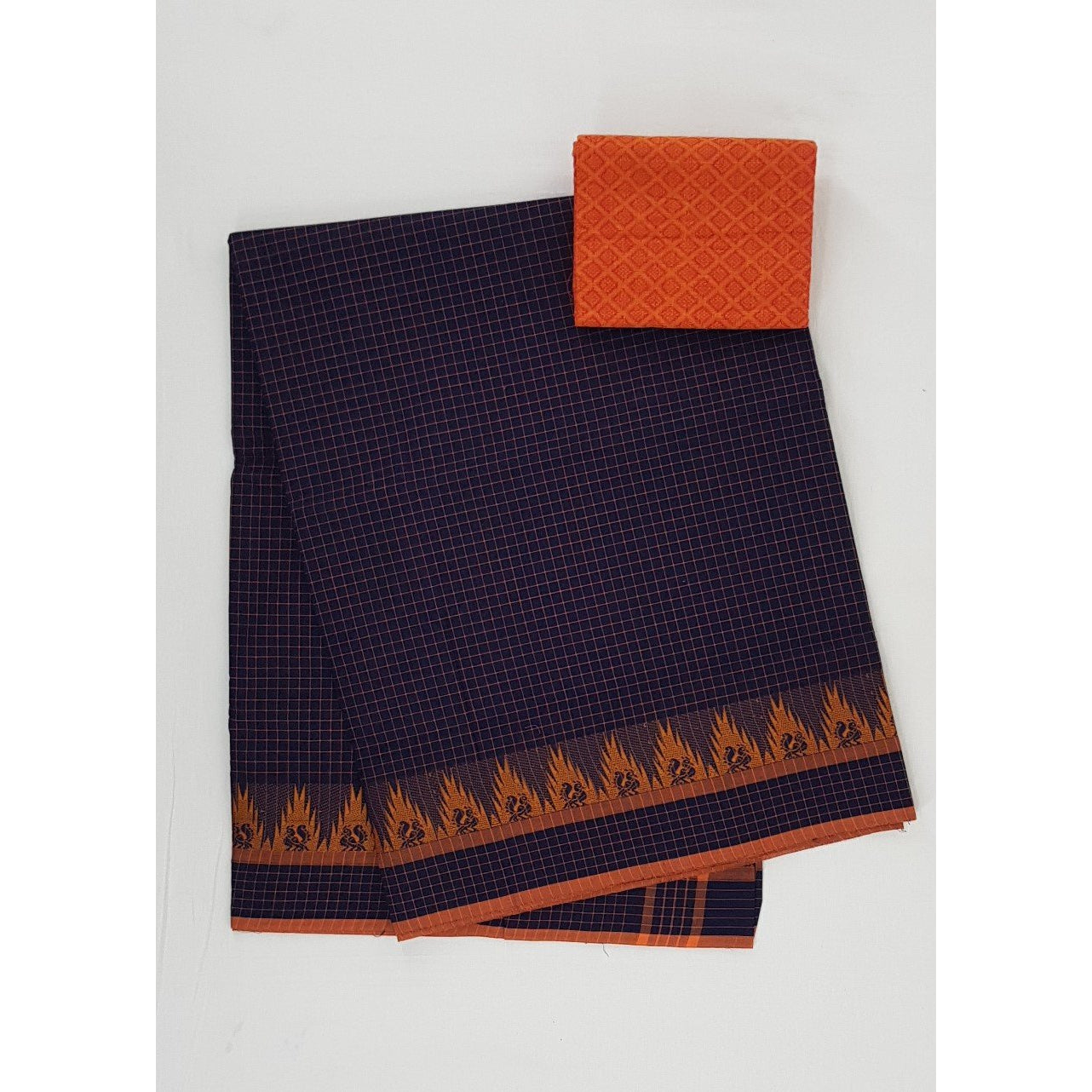Black Color Venkatagiri Cotton Saree - Vinshika
