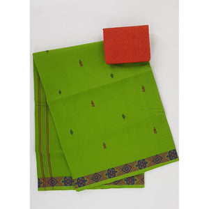 Neon Green Color Venkatagiri Cotton Saree - Vinshika