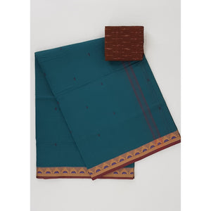 Lagoon color Venkatagiri cotton saree - Vinshika