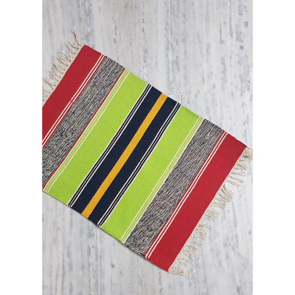 Multi color stripes Handwoven Dhurrie – 1.5 ft X 2 ft - Vinshika
