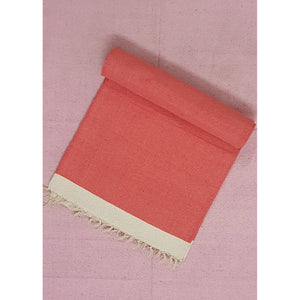 Light Coral and White Handwoven Dhurrie – 3 ft X 6 ft - Vinshika